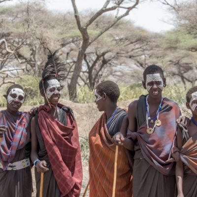 Massai people boys with face paint